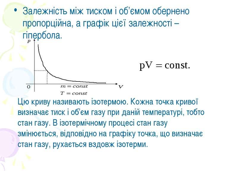 Залежність між тиском і об'ємом обернено пропорційна, а графік цієї залежност...