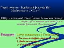 Перші поняття - Індійський філософ Shri Madhvacharya ( XIII ст.) 1801р. – нім...