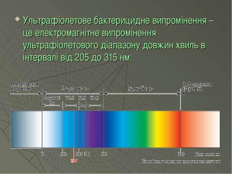 Ультрафіолетове бактерицидне випромінення – це електромагнітне випромінення у...