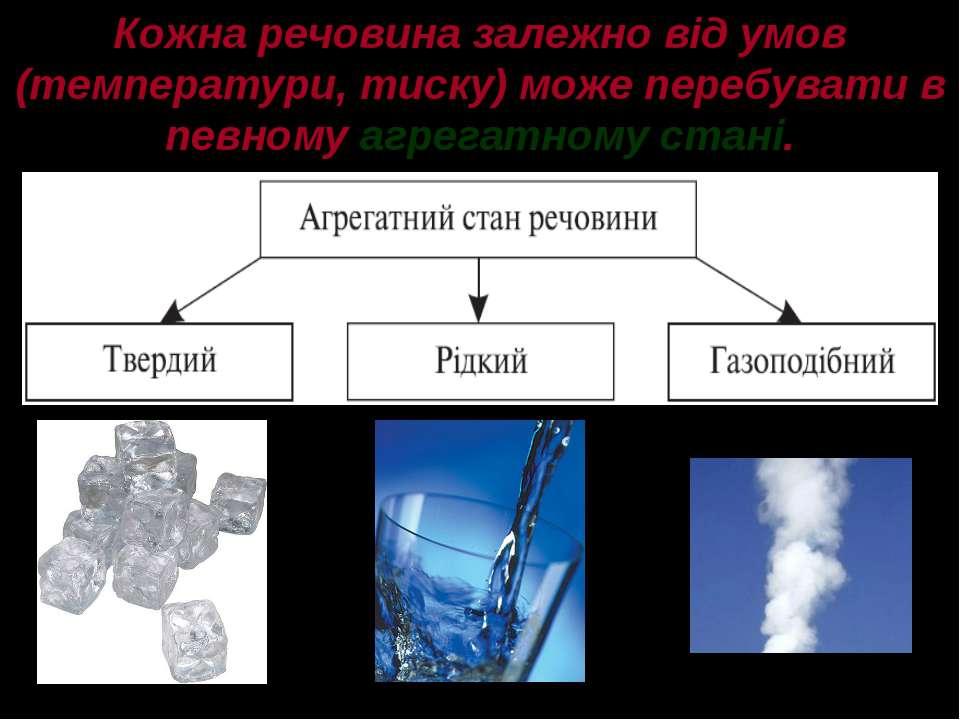 Кожна речовина залежно від умов (температури, тиску) може перебувати в певном...