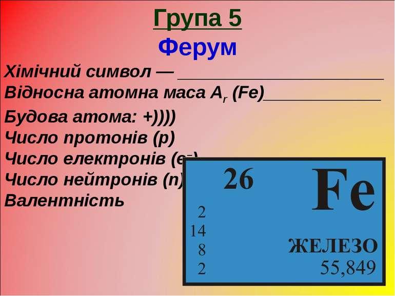 Група 5 Ферум Хімічний символ — _____________________ Відносна атомна маса Ar...