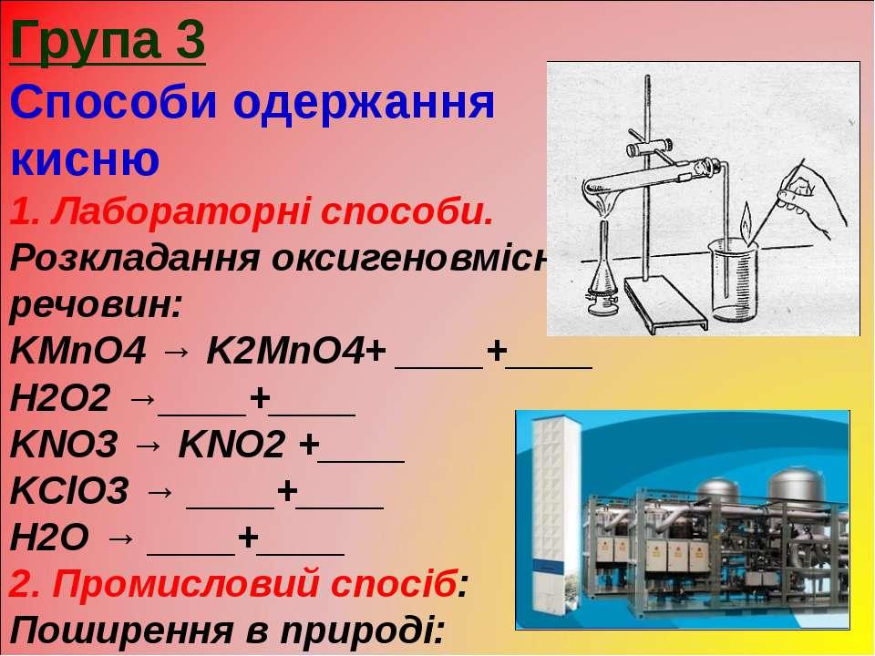 Група 3 Способи одержання кисню 1. Лабораторні способи. Розкладання оксигенов...