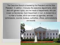 The Executive Branch is headed by the President and the Vice President. In ad...