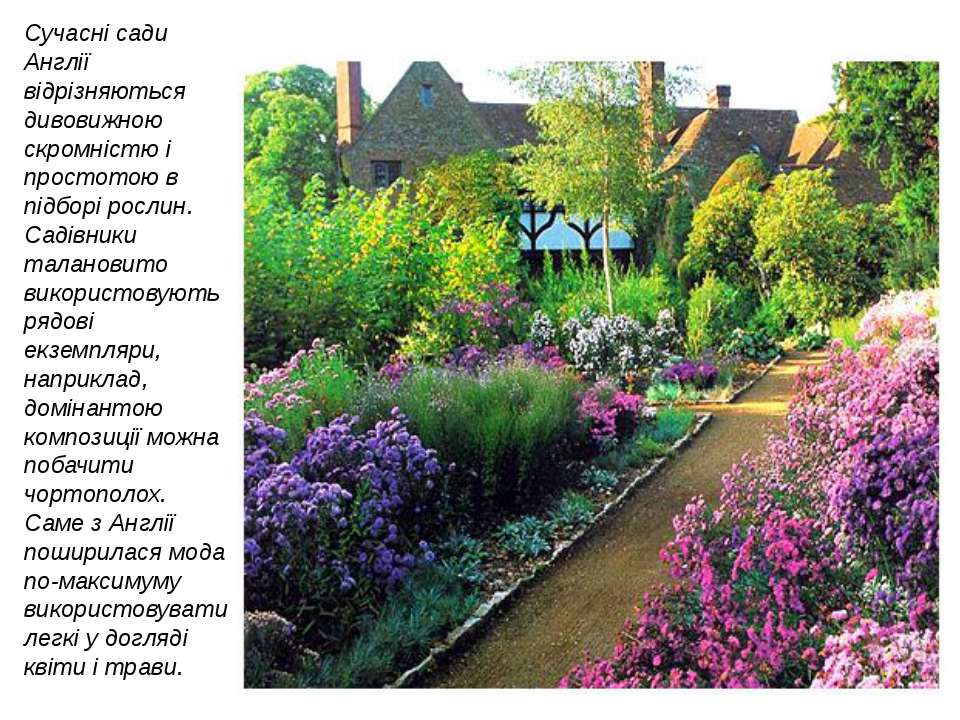 Сучасні сади Англії відрізняються дивовижною скромністю і простотою в підборі...