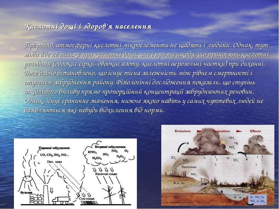 Кислотні дощі і здоров'я населення Природно, атмосферні кислотні мікроелемент...