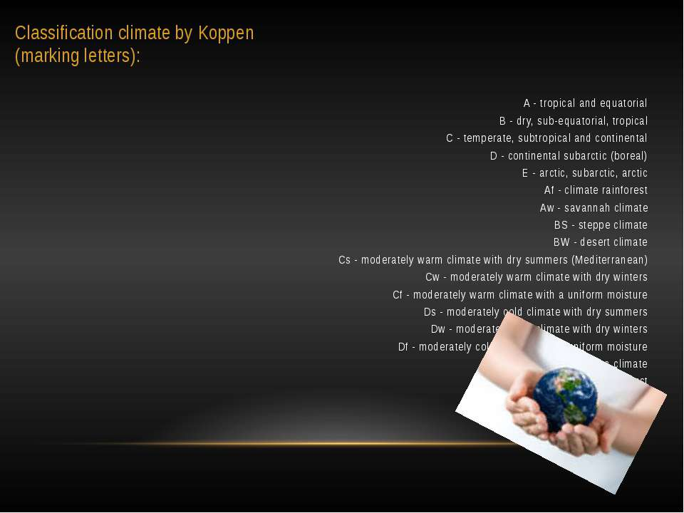 Classification climate by Koppen (marking letters): A - tropical and equatori...