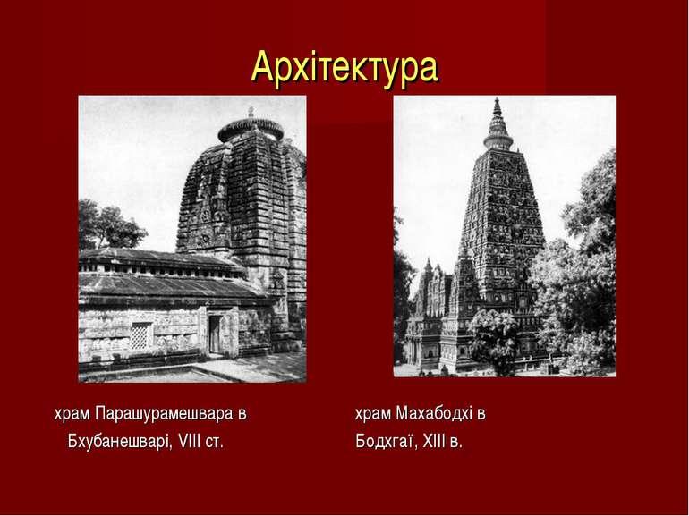 Архітектура храм Парашурамешвара в храм Махабодхі в Бхубанешварі, VIIIст. Бо...