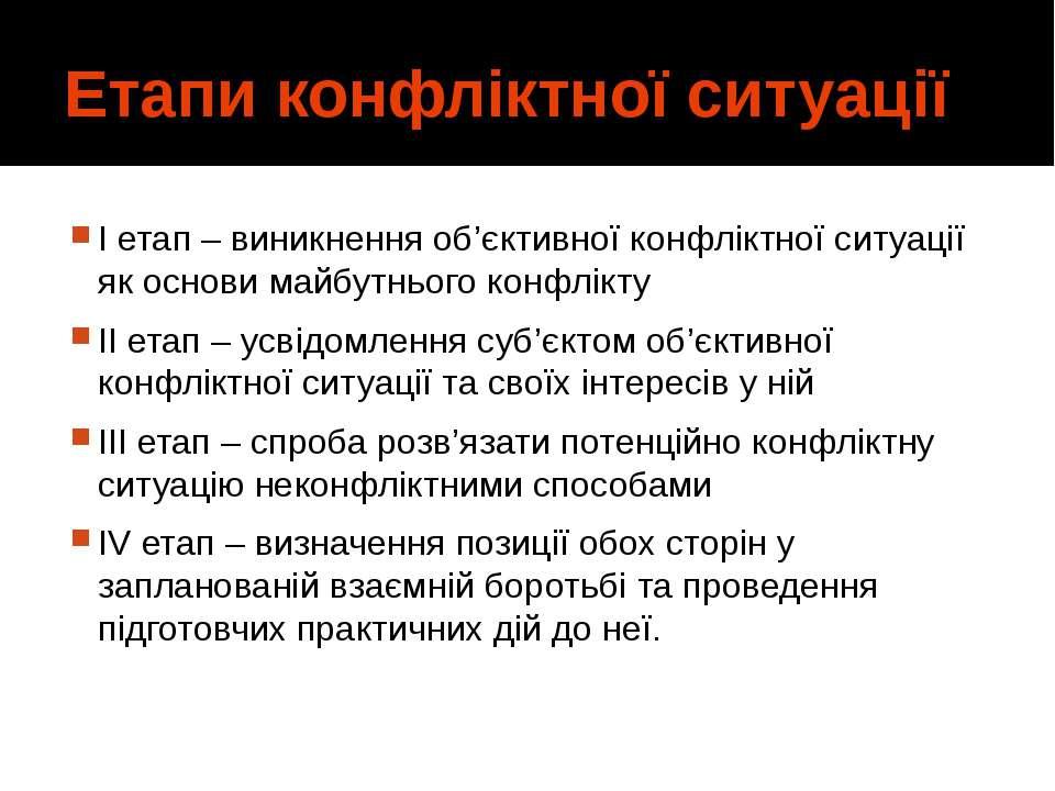Етапи конфліктної ситуації І етап – виникнення об'єктивної конфліктної ситуац...