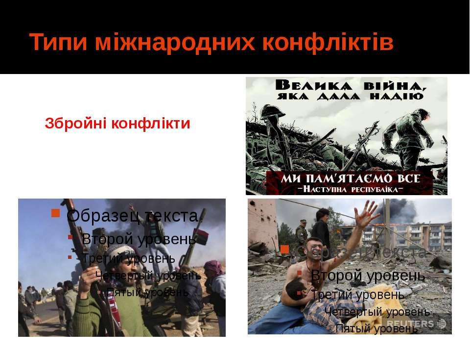 Типи міжнародних конфліктів Збройні конфлікти