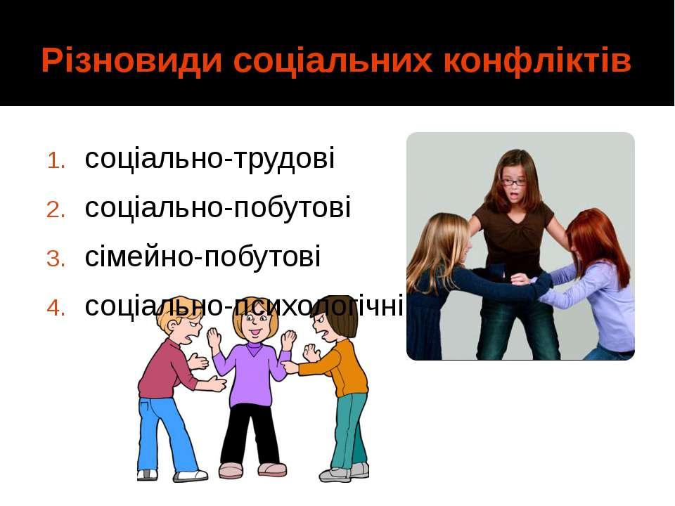 Різновиди соціальних конфліктів соціально-трудові соціально-побутові сімейно-...