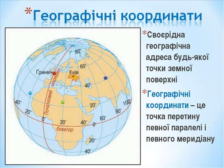 Своєрідна географічна адреса будь-якої точки земної поверхні Географічні коор...