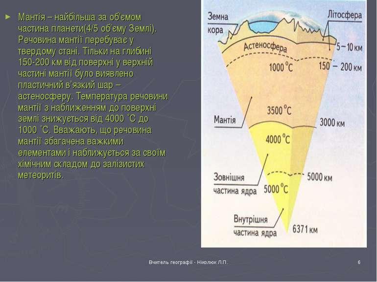 Вчитель географії - Ніколюк Л.П. * Мантія – найбільша за об'ємом частина план...
