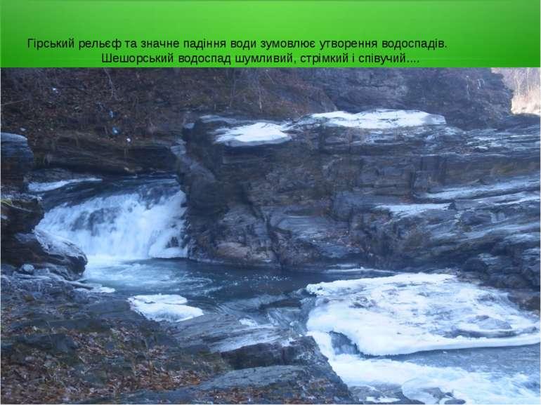 Гірський рельєф та значне падіння води зумовлює утворення водоспадів. Шешорсь...