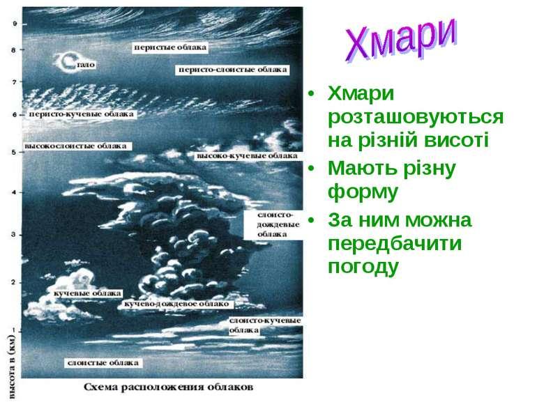 Хмари розташовуються на різній висоті Мають різну форму За ним можна передбач...