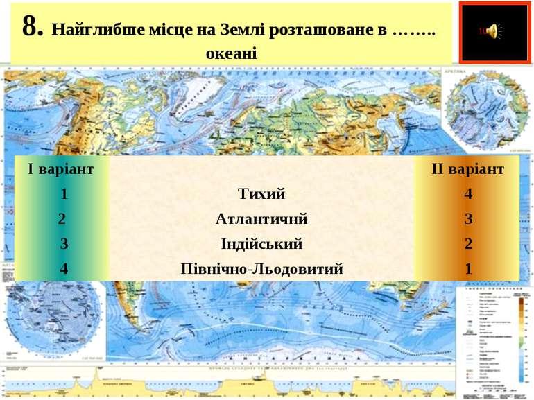 8. Найглибше місце на Землі розташоване в …….. океані  І варіант   ІІ вар...