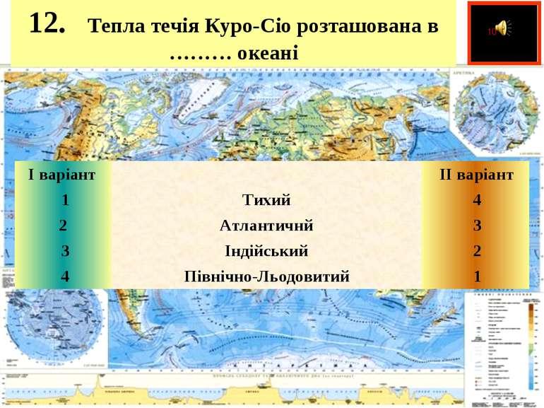 12. Тепла течія Куро-Сіо розташована в ……… океані  І варіант   ІІ варі...