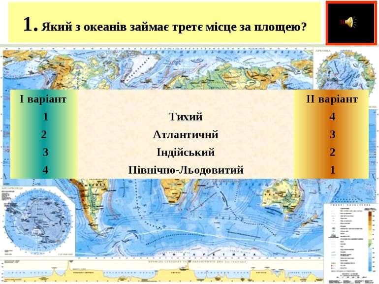 1.Який з океанів займає третє місце за площею?  І варіант   ІІ варіант ...