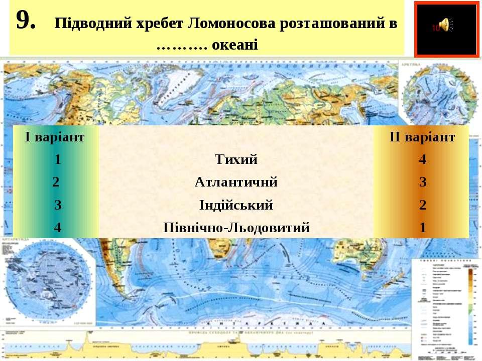 9. Підводний хребет Ломоносова розташований в ………. океані  І варіант  ...