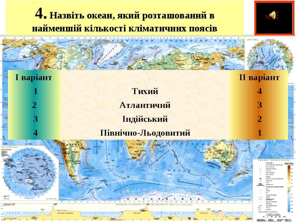 4.Назвіть океан, який розташований в найменшій кількості кліматичних поясів ...