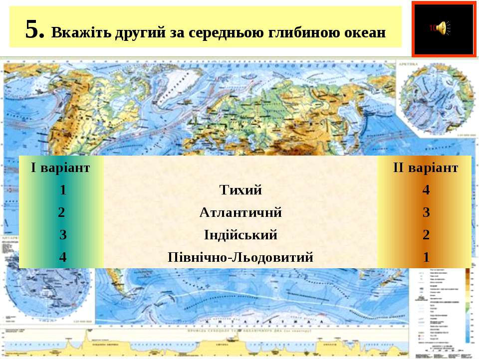 5. Вкажіть другий за середньою глибиною океан  І варіант   ІІ варіант 1 ...