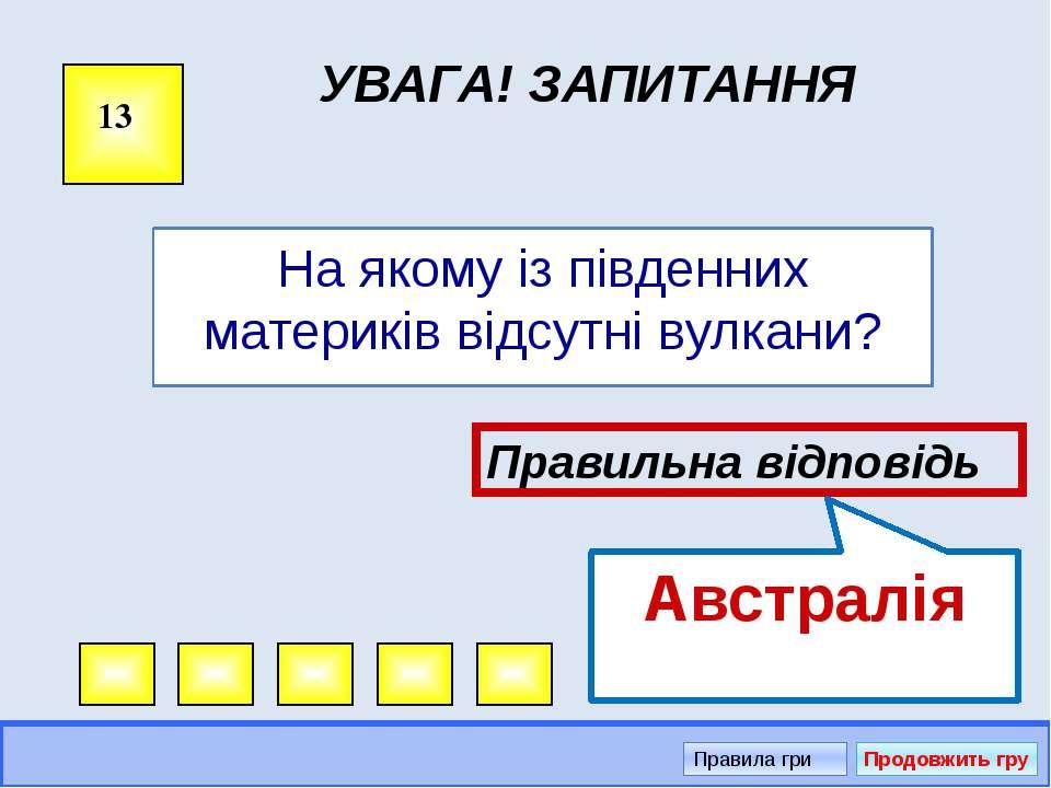 Увага! Запитання 1 Правильна відповідь Африка Правила гри Продовжить гру Мис ...