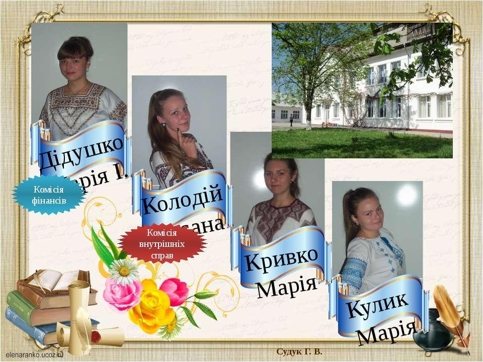 Судук Г. В. Комісія внутрішніх справ Комісія фінансів Дідушко Марія І. Кулик ...