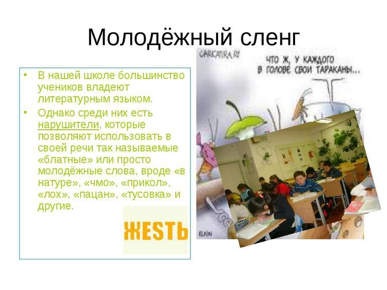 Молодёжный сленг В нашей школе большинство учеников владеют литературным язык...