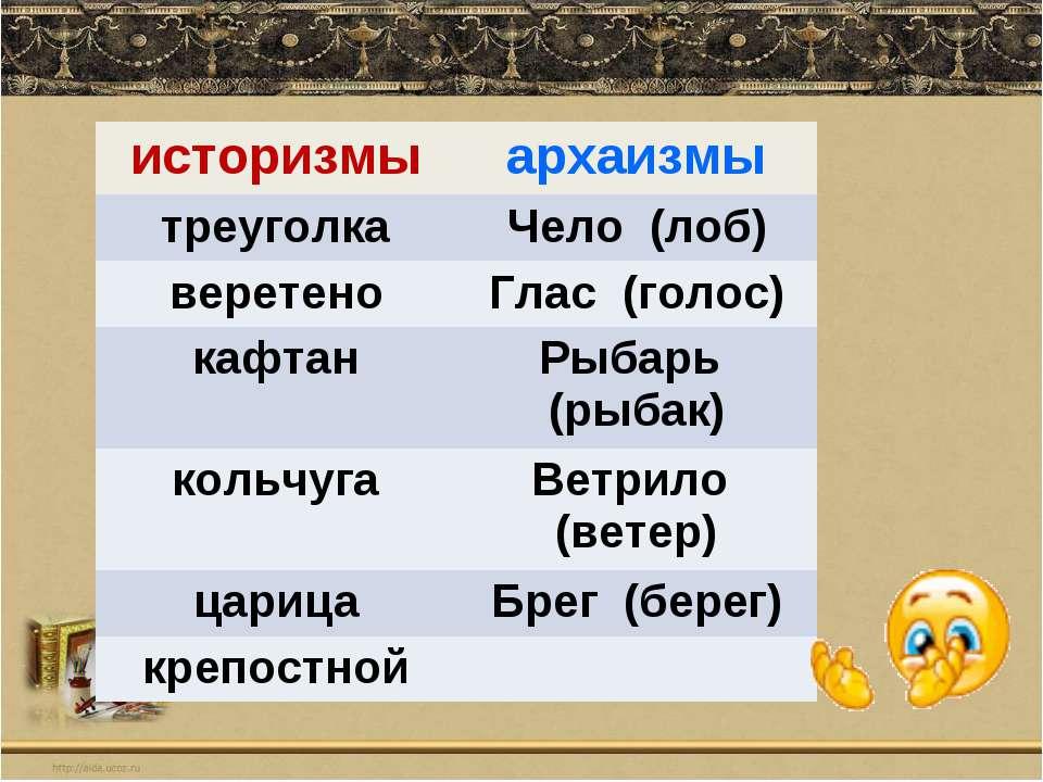 историзмы архаизмы треуголка Чело (лоб) веретено Глас (голос) кафтан Рыбарь (...