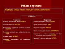 Работа в группах Подбери и запиши ответы, используя глаголы-исключения ПРОВЕР...