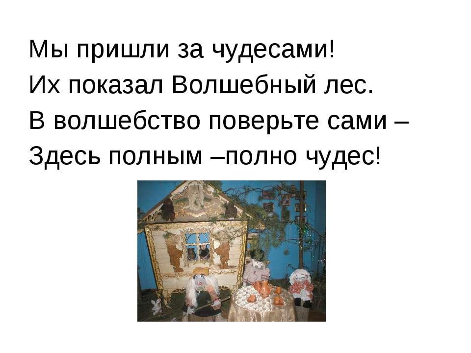 Мы пришли за чудесами! Их показал Волшебный лес. В волшебство поверьте сами –...