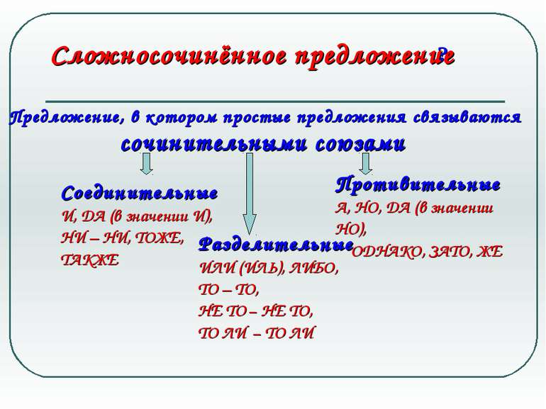 Сложносочинённое предложение Предложение, в котором простые предложения связы...