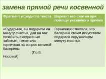 замена прямой речи косвенной Фрагмент исходного текста Вариант его сжатия при...