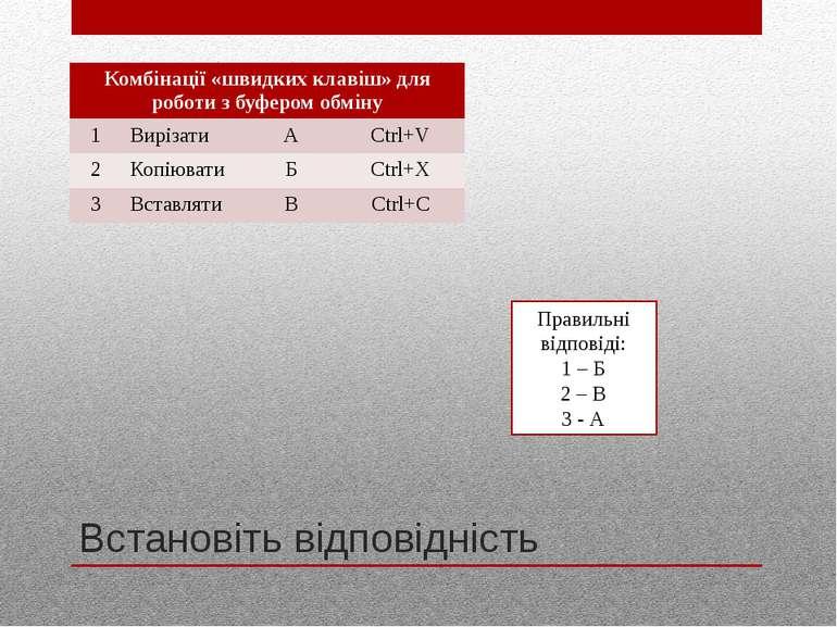 Встановіть відповідність Правильні відповіді: 1 – Б 2 – В 3 - А Комбінації «ш...
