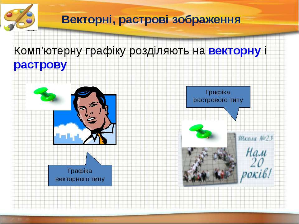 Комп'ютерну графіку розділяють на векторну і растрову Графіка векторного типу...