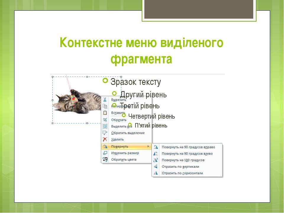Контекстне меню виділеного фрагмента