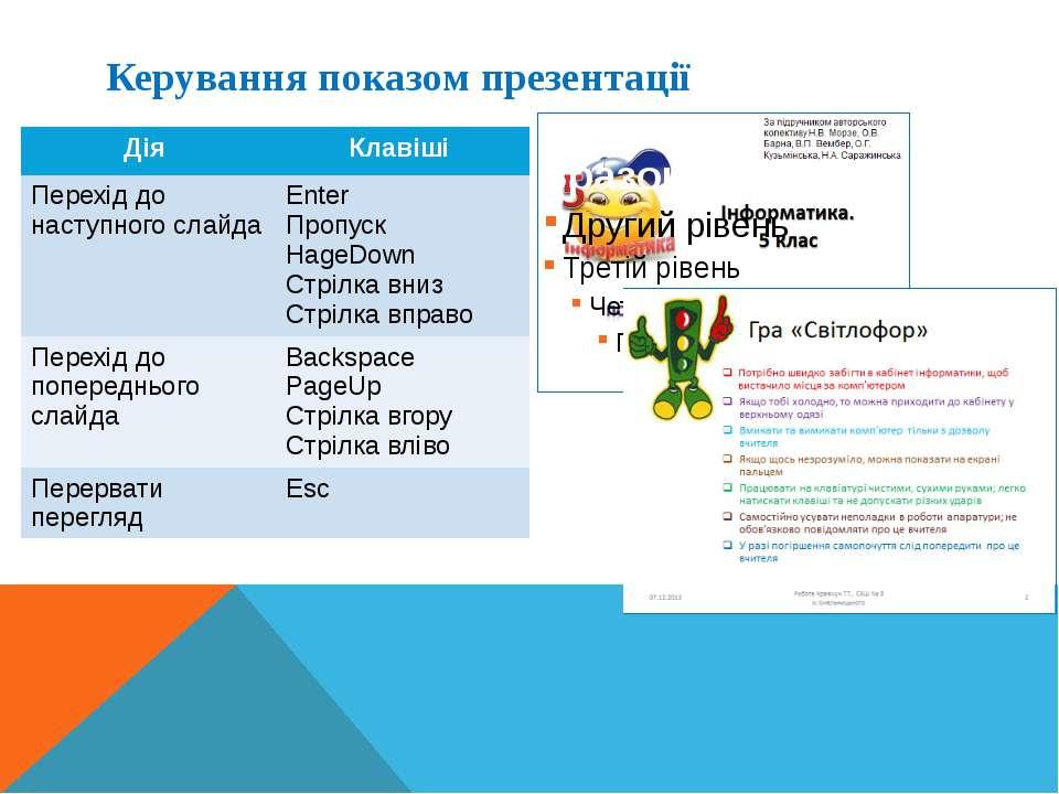 Керування показом презентації Дія Клавіші Перехід до наступного слайда Enter ...