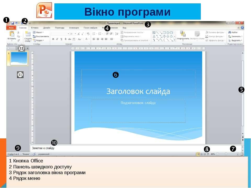 Вікно програми 1 Кнопка Office 2 Панель швидкого доступу 3 Рядок заголовка ві...