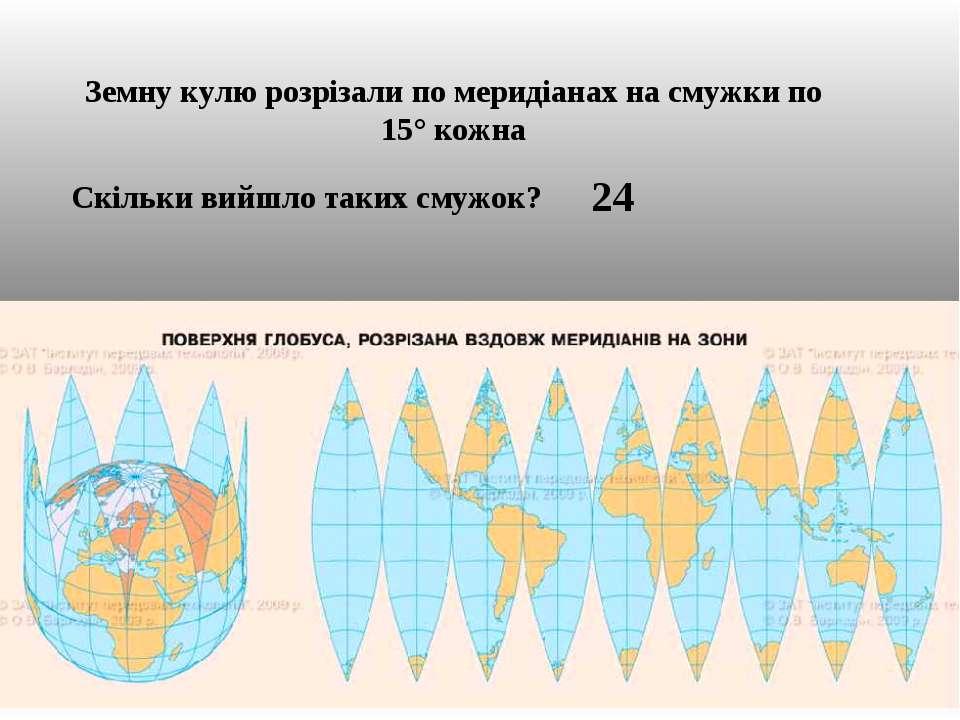 Земну кулю розрізали по меридіанах на смужки по 15° кожна Скільки вийшло таки...
