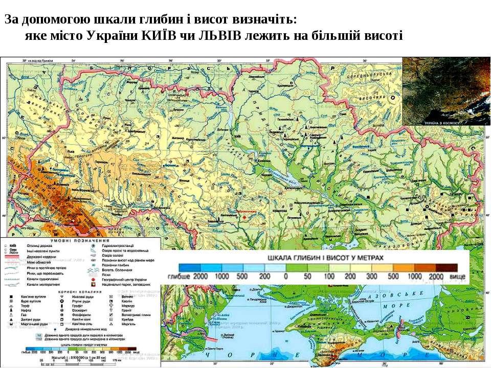 За допомогою шкали глибин і висот визначіть: яке місто України КИЇВ чи ЛЬВІВ ...