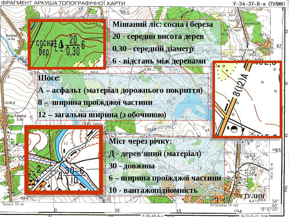 Мішаний ліс: сосна і береза 20 - середня висота дерев 0,30 - середній діаметр...