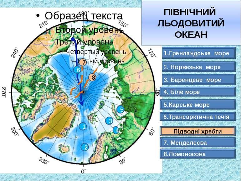1.Гренландське море 3. Баренцеве море 2. Норвезьке море ПІВНІЧНИЙ ЛЬОДОВИТИЙ ...