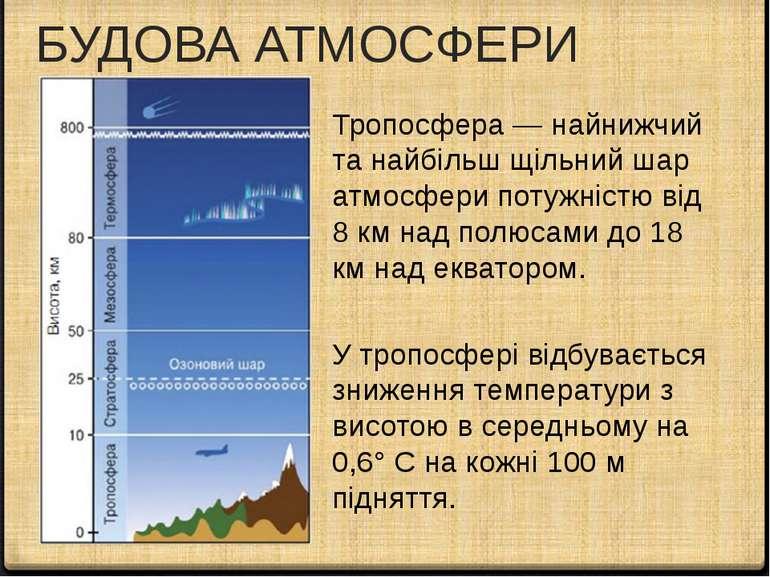 БУДОВА АТМОСФЕРИ Тропосфера — найнижчий та найбільш щільний шар атмосфери пот...