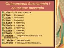 Оцінювання диктантів і списаних текстів 1 бал – 9 і більше помилок; 2 бали – ...