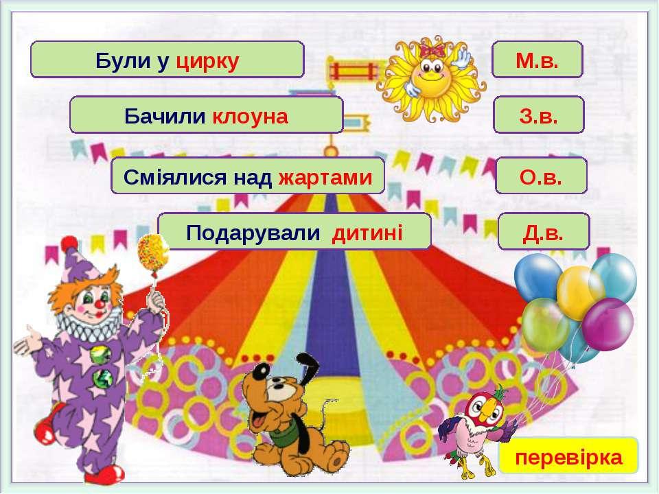 Були у цирку Бачили клоуна Сміялися над жартами Подарували дитині М.в. З.в. О...