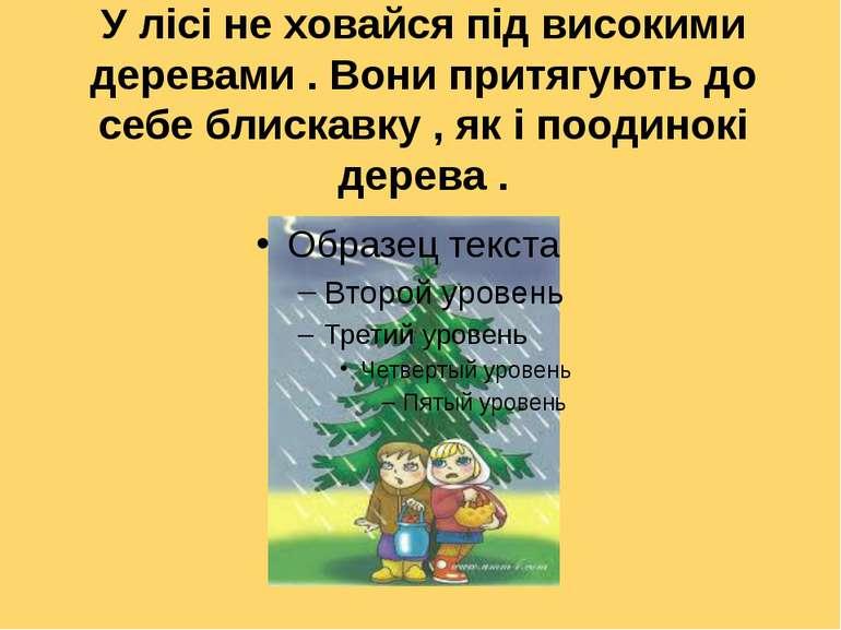 У лісі не ховайся під високими деревами . Вони притягують до себе блискавку ,...