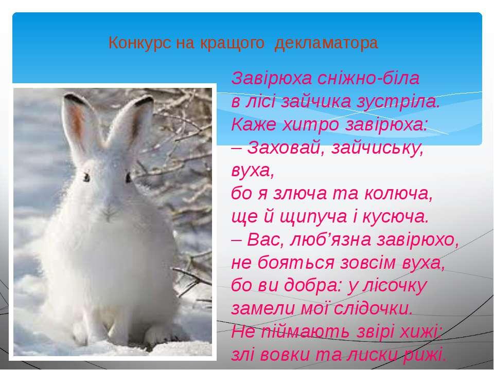 Конкурс на кращого декламатора Завірюха сніжно-біла в лісі зайчика зустріла. ...