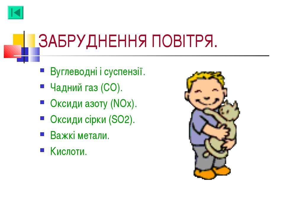 ЗАБРУДНЕННЯ ПОВІТРЯ. Вуглеводні і суспензії. Чадний газ (СО). Оксиди азоту (N...