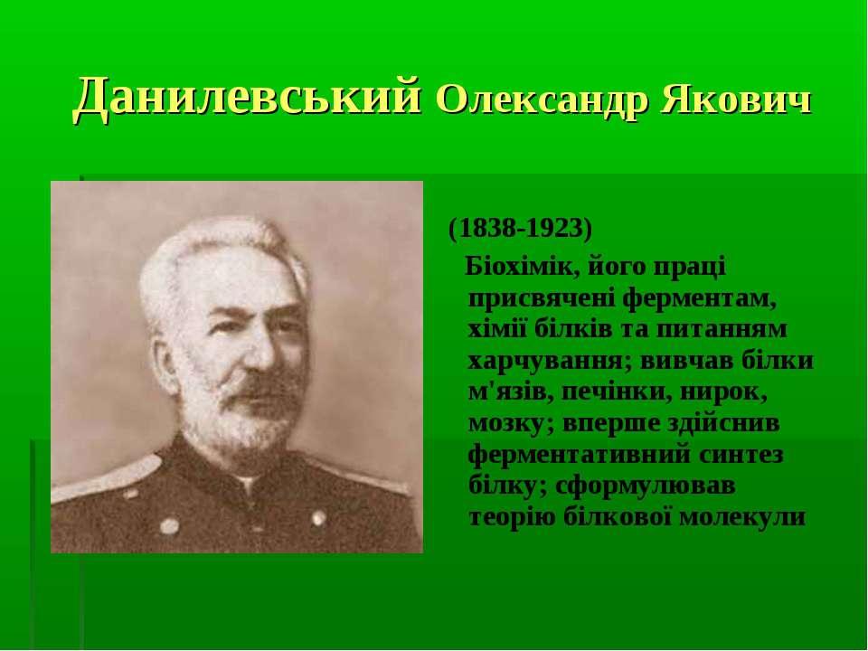 Данилевський Олександр Якович (1838-1923) Біохімік, його праці присвячені фер...