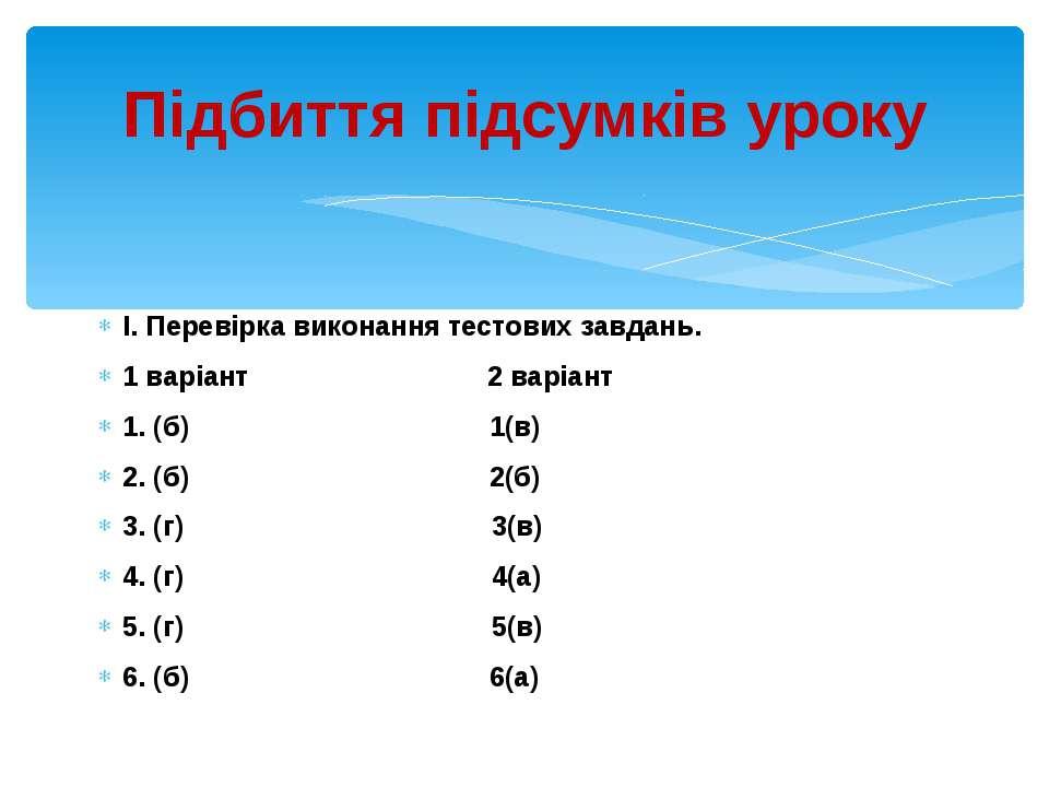 I. Перевірка виконання тестових завдань. 1 варіант 2 варіант 1. (б) 1(в) 2. (...