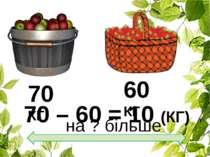 70 КГ на ? більше 60 КГ 70 – 60 = 10 (КГ)